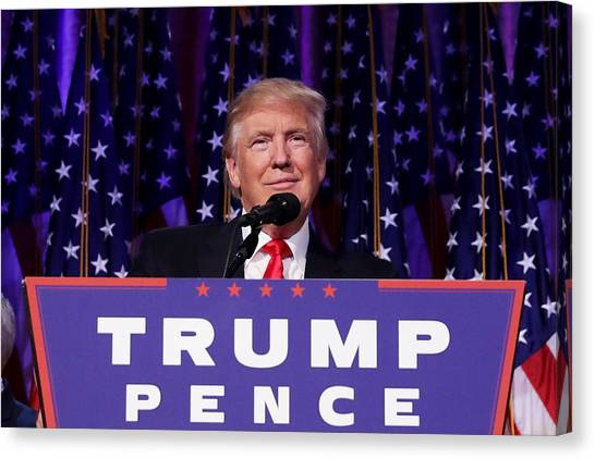 Republican Presidential Nominee Donald Trump Holds Election Night Event In New York City Canvas Print by Chip Somodevilla