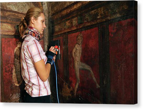 Mount Vesuvius Canvas Print - Restoration Of Roman Frescoes by Pasquale Sorrentino