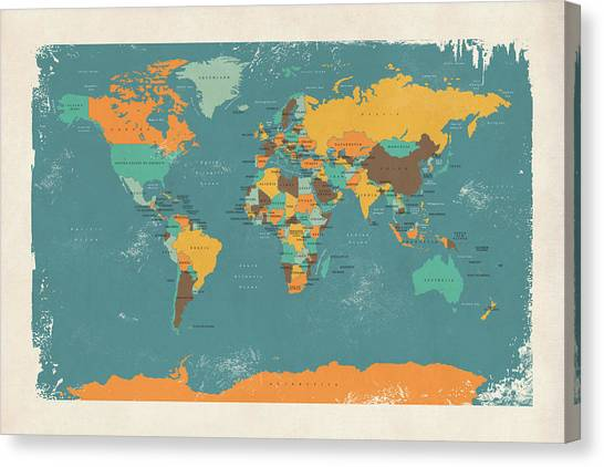 Country Canvas Print - Retro Political Map Of The World by Michael Tompsett