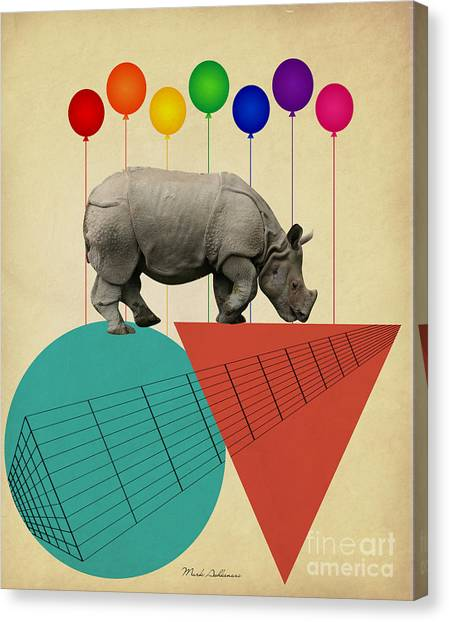 Flag Canvas Print - Rhino by Mark Ashkenazi