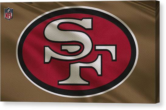 San Francisco 49ers Canvas Print - San Francisco 49ers Uniform by Joe Hamilton