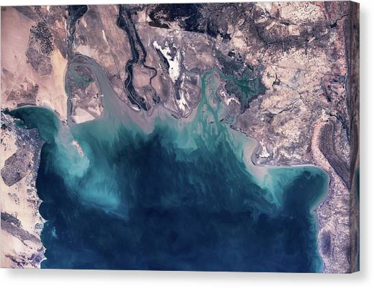 Kuwait Canvas Print - Satellite View Of Coastal Area by Panoramic Images