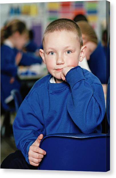 Classroom Canvas Print - Schoolboy by Martin Riedl/science Photo Library