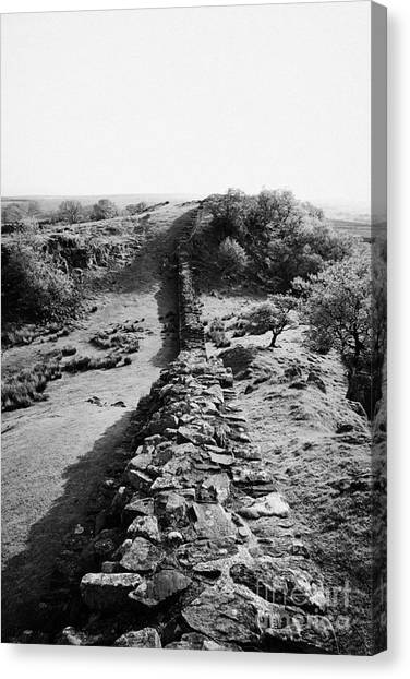 Hadrian canvas print section of hadrians wall at walltown crags northumberland uk by joe fox
