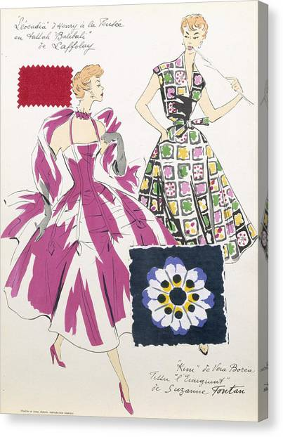 Fabric Canvas Print - Sketches And Fabric Swatches by French School