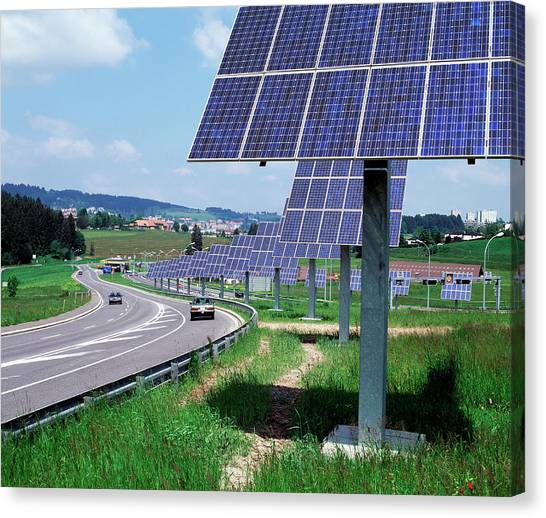 Solar Panels Canvas Print by Martin Bond/science Photo Library