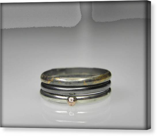 3 Stacking Silver Rings With 14k And 24k Gold Canvas Print by Vesna Kolobaric