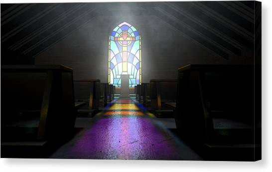 Beam Canvas Print - Stained Glass Window Church by Allan Swart
