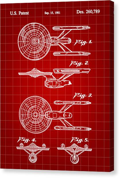 Uhura Canvas Print - Star Trek Uss Enterprise Toy Patent 1981 - Red by Stephen Younts