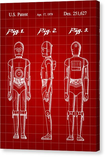 R2-d2 Canvas Print - Star Wars C-3po Patent 1979 - Red by Stephen Younts