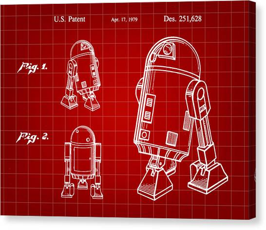 C-3po Canvas Print - Star Wars R2-d2 Patent 1979 - Red by Stephen Younts
