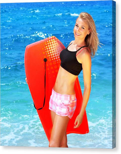Bodyboard Canvas Print - Summer Fun On The Beach by Anna Om