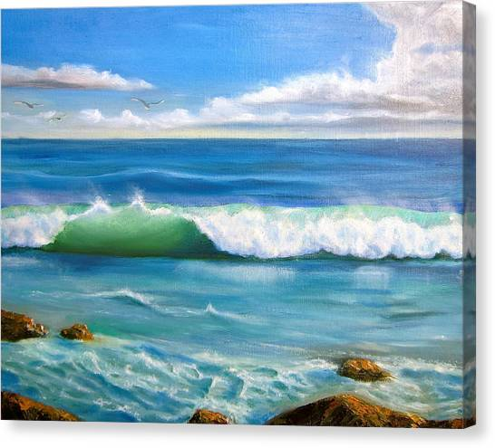 Sunny Seascape Canvas Print by Heather Matthews
