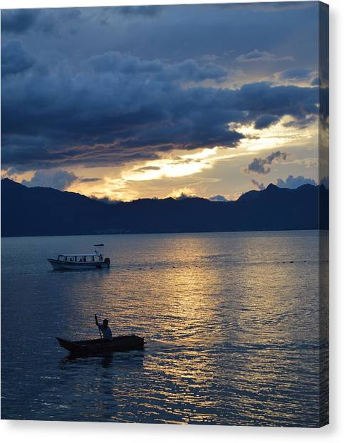Fishing Canvas Print - Cloudy Sunset by Josias Tomas