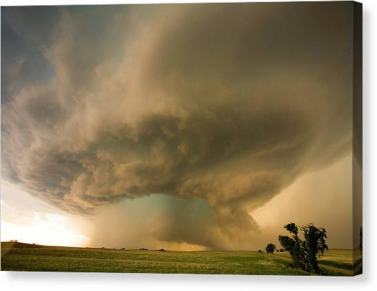 Hailstorms Canvas Print - Supercell Thunderstorm Over Fields by Roger Hill/science Photo Library