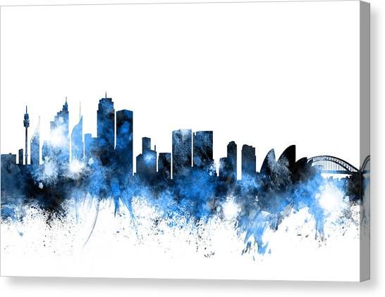 Sydney Skyline Canvas Print - Sydney Australia Skyline by Michael Tompsett