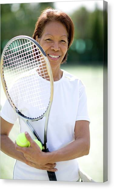 Tennis Racquet Canvas Print - Tennis Player by Ian Hooton/science Photo Library
