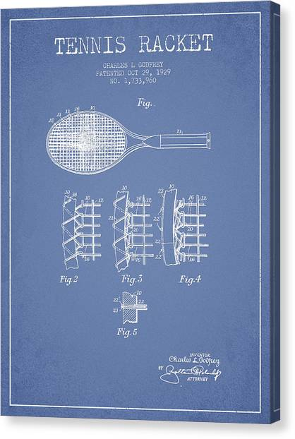 Tennis Ball Canvas Print - Tennnis Racket Patent Drawing From 1929 by Aged Pixel