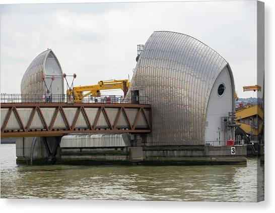 Flooding Canvas Print - Thames Barrier by Ashley Cooper