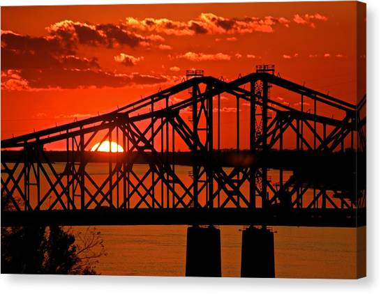 The Mississippi River Bridge At Natchez At Sunset.  Canvas Print
