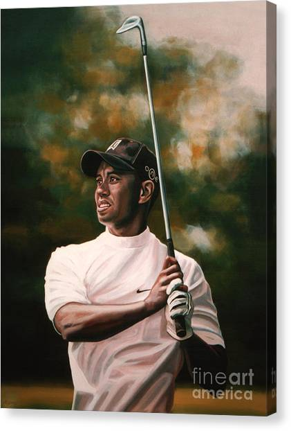 Golf Canvas Print - Tiger Woods  by Paul Meijering