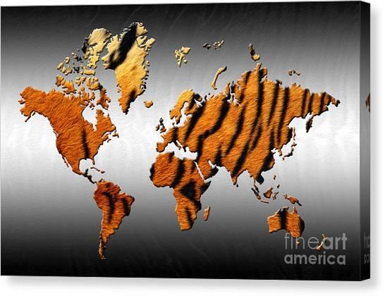 Cat Map Canvas Print - Tiger World Map by Zaira Dzhaubaeva