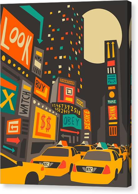 Times Square Canvas Print - Time Square by Jazzberry Blue
