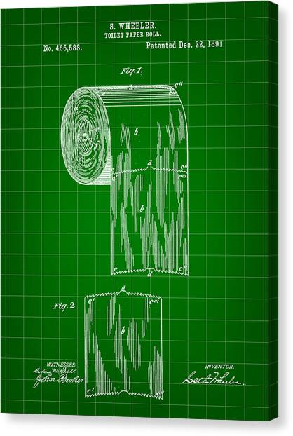 Ply Canvas Print - Toilet Paper Roll Patent 1891 - Green by Stephen Younts