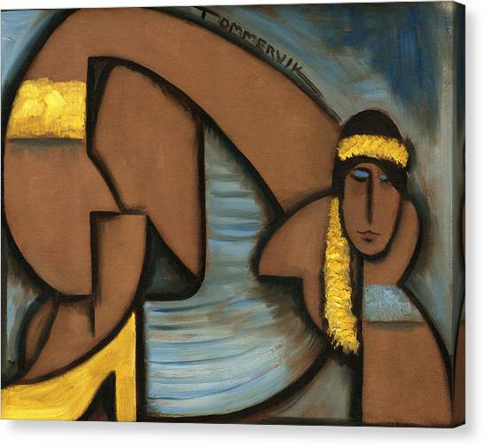 Cubist Hawaii Hula Girl Art Print Canvas Print