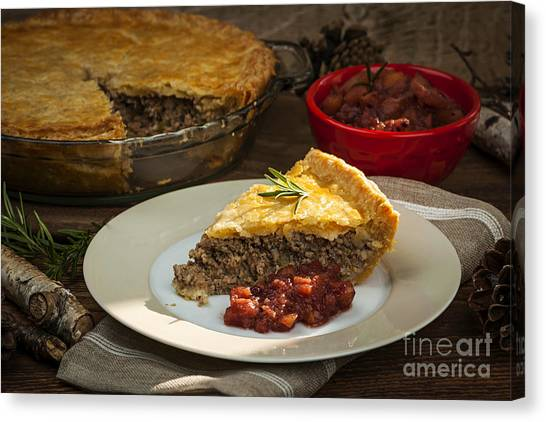 Cranberry Sauce Canvas Print - Tourtiere Meat Pie by Elena Elisseeva