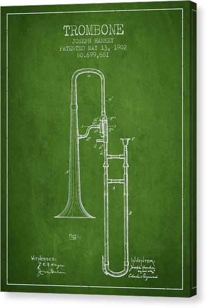 Trombones Canvas Print - Trombone Patent From 1902 - Green by Aged Pixel