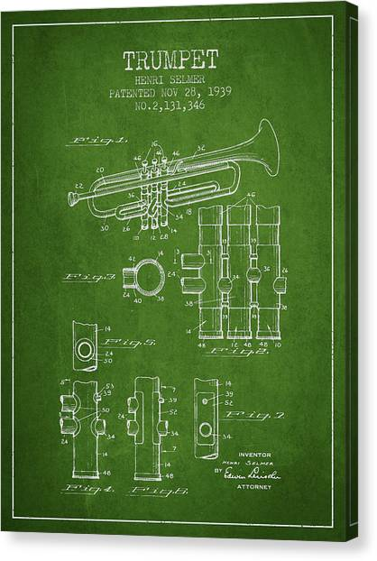 Brass Instruments Canvas Print - Trumpet Patent From 1939 - Green by Aged Pixel