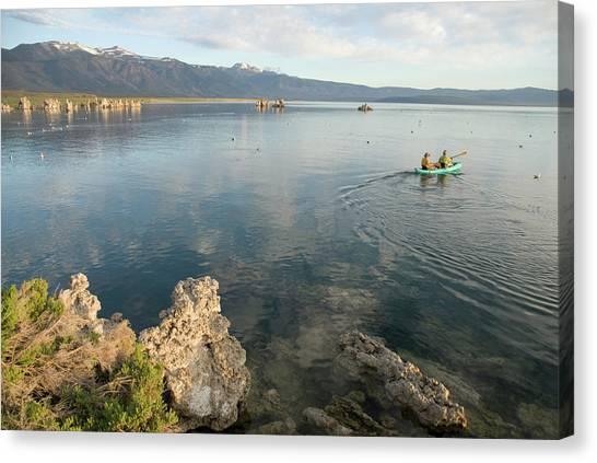 Real Salt Lake Canvas Print - Two Men Kayaking On Mono Lake by Kennan Harvey