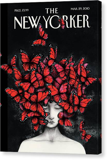 Butterfly Canvas Print - New Yorker March 29th, 2010 by Ana Juan