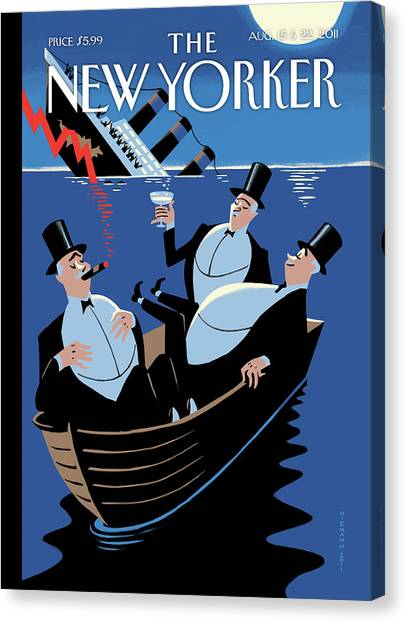 Dinghy Canvas Print - New Yorker August 15th, 2011 by Christoph Niemann