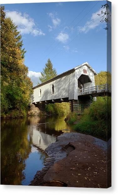 Crabtree Falls Canvas Print - Usa, Oregon, Scio, Hoffman Bridge by Rick A Brown
