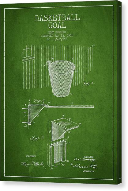 Slam Dunk Canvas Print - Vintage Basketball Goal Patent From 1925 by Aged Pixel