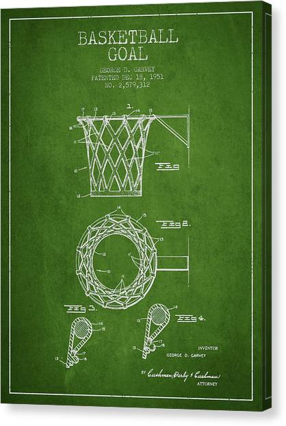 Slam Dunk Canvas Print - Vintage Basketball Goal Patent From 1951 by Aged Pixel