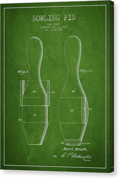 Bowling Ball Canvas Print - Vintage Bowling Pin Patent Drawing From 1938 by Aged Pixel