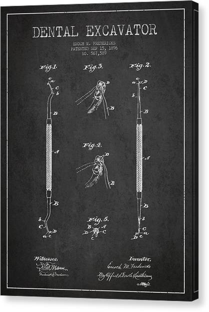 Excavators Canvas Print - Vintage Dental Excavator Patent Drawing From 1896 - Dark by Aged Pixel
