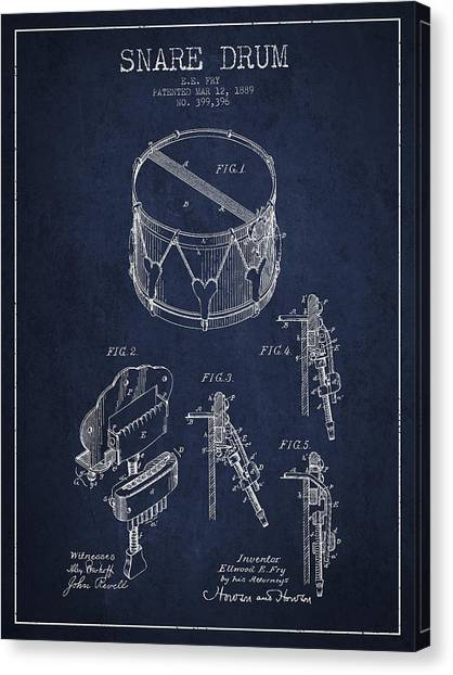 Snares Canvas Print - Vintage Snare Drum Patent Drawing From 1889 - Navy Blue by Aged Pixel