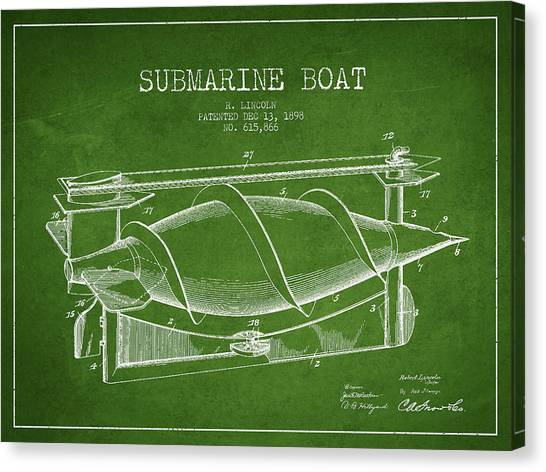 Submarine Canvas Print - Vintage Submarine Boat Patent From 1898 by Aged Pixel