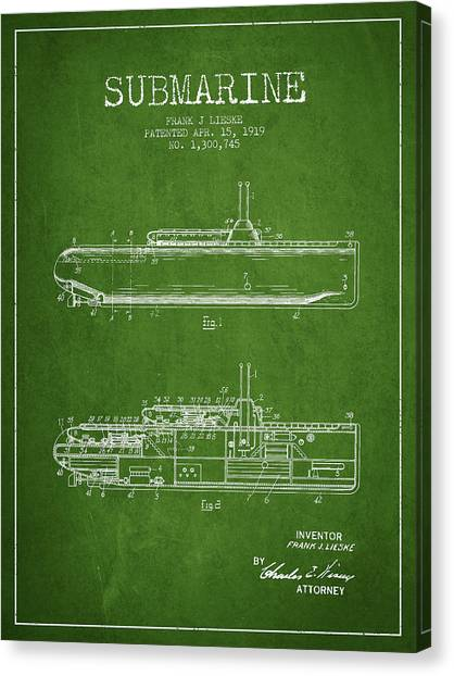 Submarine Canvas Print - Vintage Submarine Patent From 1919 by Aged Pixel
