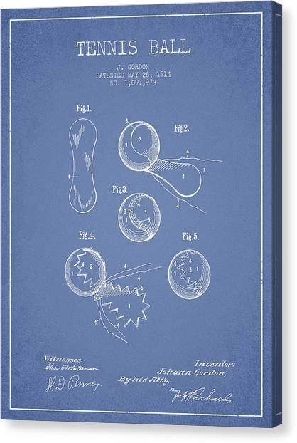 Tennis Ball Canvas Print - Vintage Tennnis Ball Patent Drawing From 1914 by Aged Pixel