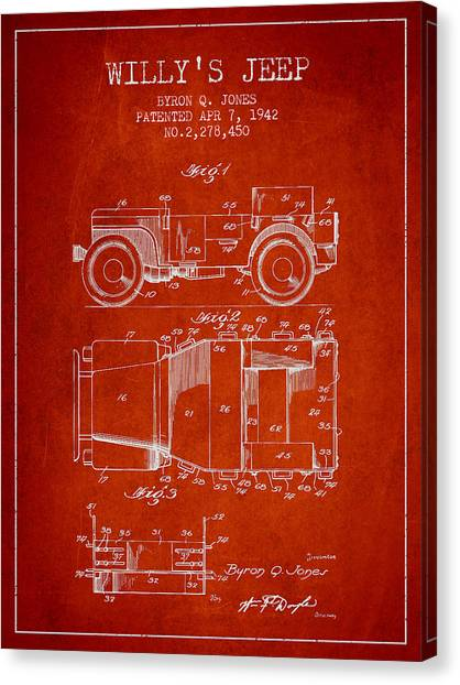 Jeep Canvas Print - Vintage Willys Jeep Patent From 1942 by Aged Pixel