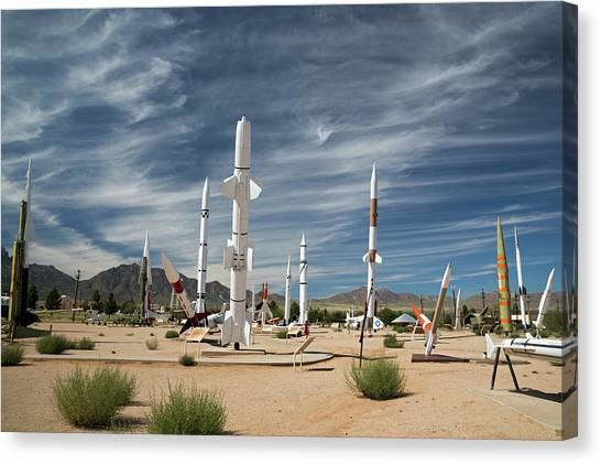 Installation Art Canvas Print - White Sands Missile Range Museum by Jim West