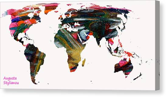 Augusta Canvas Print - World Map And Human Life by Augusta Stylianou