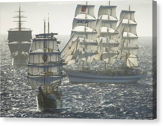 3 X Tall Ships Canvas Print by Gilles Martin-Raget