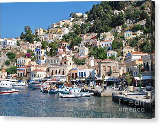 Yialos Harbour Symi Canvas Print