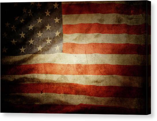 Flag Canvas Print - American Flag Rippled by Les Cunliffe